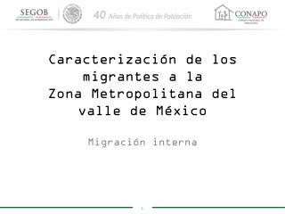 Caracterización de los migrantes a la  Zona Metropolitana del valle de México
