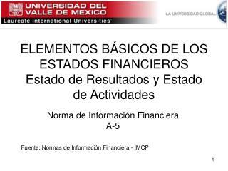 ELEMENTOS BÁSICOS DE LOS ESTADOS FINANCIEROS Estado de Resultados y Estado de Actividades