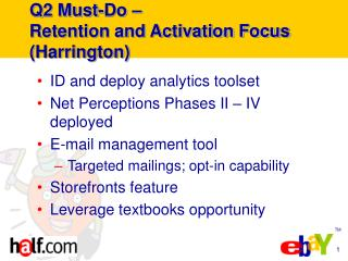 Q2 Must-Do – Retention and Activation Focus (Harrington)
