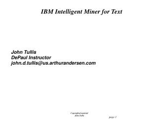 IBM Intelligent Miner for Text