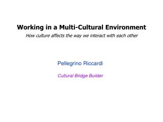 Working in a Multi-Cultural Environment How culture affects the way we interact with each other