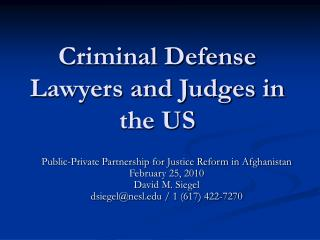 Criminal Defense Lawyers and Judges in the US