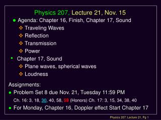 Physics 207, Lecture 21, Nov. 15