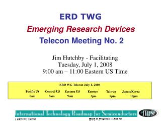 ERD TWG Emerging Research Devices Telecon Meeting No. 2