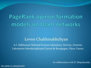 PageRank opinon  formation models on  Ulam  networks