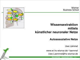 Wissensextraktion  mittels künstlicher neuronaler Netze Autoassoziative Netze