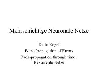 Mehrschichtige Neuronale Netze