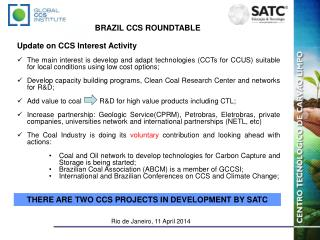 Brazil CCS Roundtable Rio de Janeiro, 11 April 2014