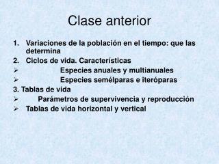 Clase anterior