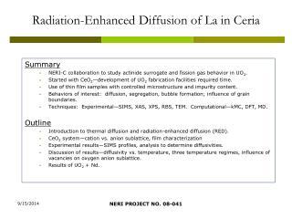 Radiation-Enhanced Diffusion of La in Ceria