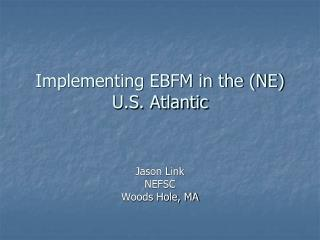 Implementing EBFM in the (NE) U.S. Atlantic