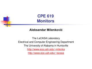 CPE 619 Monitors