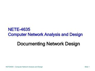 NETE-4635  Computer Network Analysis and Design