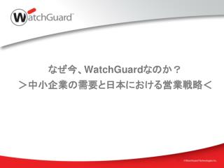 なぜ今、 WatchGuard なのか? >中小企業の需要と日本における営業戦略<