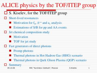 ALICE physics by the TOF/ITEP group