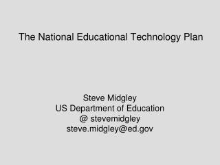 The National Educational Technology Plan