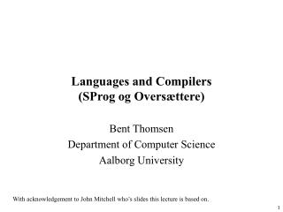 Languages and Compilers (SProg og Overs�ttere)