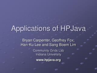 Applications of HPJava