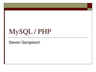 MySQL / PHP