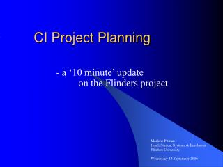 CI Project Planning