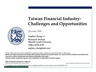 Taiwan Financial Industry- Challenges and Opportunities