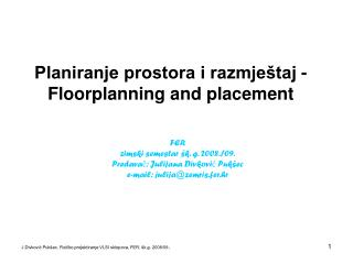 Planiranje prostora i razmje�taj - Floorplanning and placement
