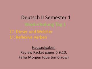 Deutsch II Semester 1