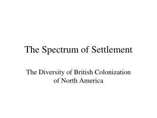 The Spectrum of Settlement