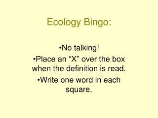 Ecology Bingo: