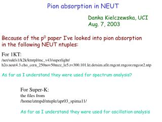 Pion absorption in NEUT