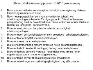 Utkast til eksamensoppgaver V-2010  (ikke bindende)