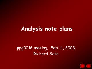 Analysis note plans