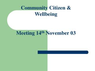 Community Citizen & Wellbeing Meeting 14 th  November 03