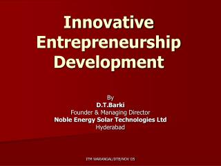 Innovative Entrepreneurship Development