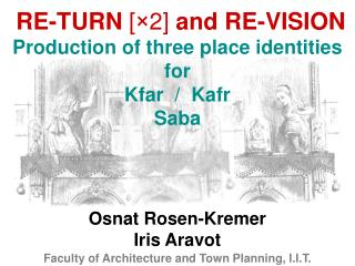 RE-TURN  [�2]  and RE-VISION Production of three place identities for Kfar  /  Kafr Saba
