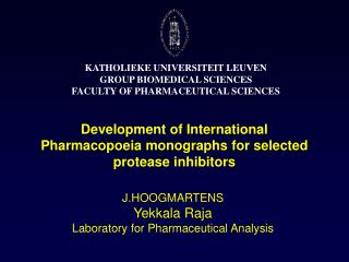 Development of International Pharmacopoeia monographs for selected protease inhibitors