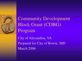 Community Development Block Grant CDBG Program