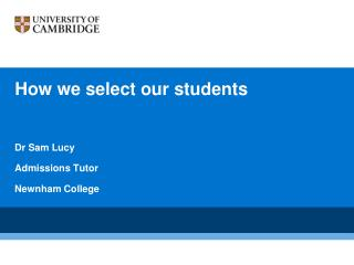 How we select our students