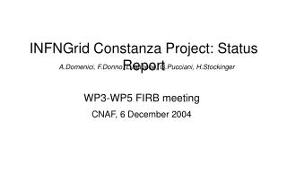 INFNGrid Constanza Project: Status Report