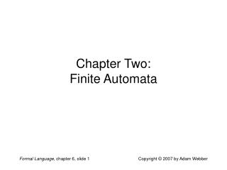 Chapter Two: Finite Automata