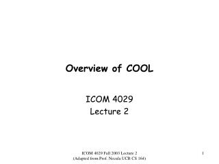 Overview of COOL