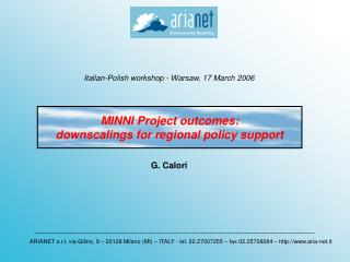 MINNI Project outcomes: downscalings for regional policy support