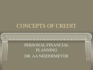 CONCEPTS OF CREDIT