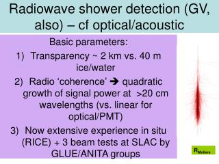 Radiowave shower detection (GV, also) – cf optical/acoustic