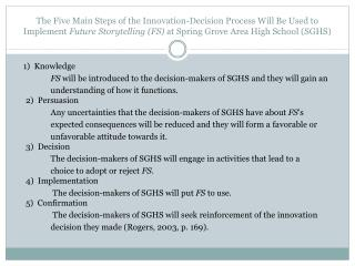 1 )Knowledge  FS  will be introduced to the decision-makers of SGHS and they will gain an