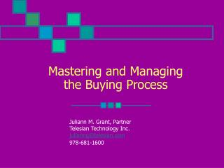 Mastering and Managing the Buying Process