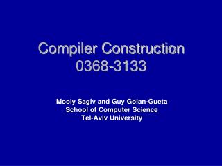 Compiler Construction 0368-3133
