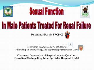 Dr. Anmar Nassir, FRCS(C) Fellowship in Andrology (U of Ottawa)