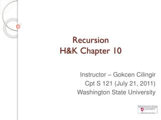 Recursion  H&K Chapter 10
