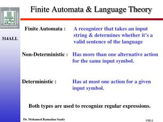 Finite Automata & Language Theory